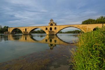 Pont Saint-Bénézet in Avignon. The Bridge of Saint Bénezet, Pont d'Avignon, once the longest bridge in Europe, Avignon, Provence, Luberon, Vaucluse, France