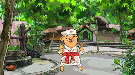 cartoon man in Japanese kimono standing in the yard with trees