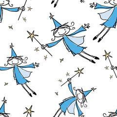 Seamless pattern of joyful flying elves
