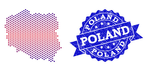 Geographic collage of dotted map of Poland and grunge stamp. Mosaic vector map of Poland composed with square dots and gradient from blue to red color. Flat design for political illustrations.