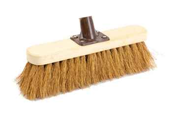 Brush Head, sweeping broom on white background. cleaning item with bristles. For work