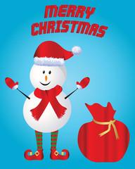Christmas-Merry Christmas with Santa Snowman and Sack