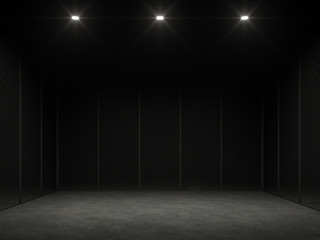 An empty cage in the dark 3d render.There is a polished concrete floor and a black steel wall with downlight shining down to the floor to show your product.