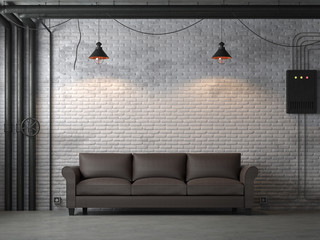 Wall Mural - Industrial loft style living room 3d render,There are white brick wall,polished concrete floor.Furnished with dark brown leather sofa ,The rooms are decorated with pipe of building systems.