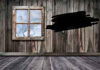 room interior vintage window with wooden wall and floor background