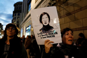 Protesters demonstrate in Bilbao after judges uphold sexual abuse ruling against Wolf Pack