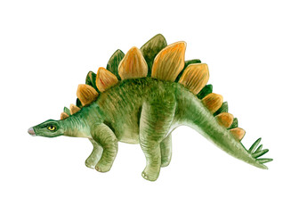 Stegosaurus dinosaur. Hand painted dinosaurs isolated on white background. Predator animal of the prehistoric period. Illustration. Watercolor. Template. Hand drawing. Clipart. Close-up