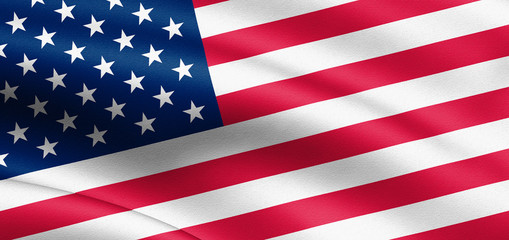 Waving USA flag. 3d illustration for your design. United States of America.