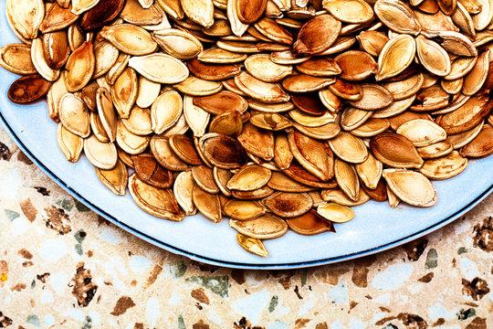 roasted pumpkin seeds close-up