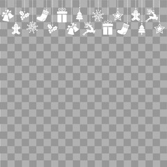 Christmas greeting card with ornaments on transparent background. Vector