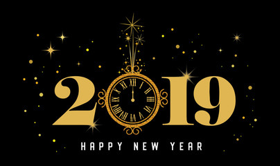 Wall Mural - Happy New Year 2019 - New Year Shining background with gold clock and glitter.