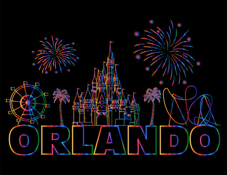Orlando colorful lettering on black backround . Vector with travel icons and fireworks