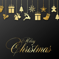 Christmas greeting card with ornaments. Vector