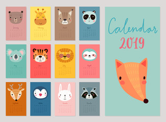 Fototapete - Calendar 2019. Cute monthly calendar with animals. Hand drawn characters.