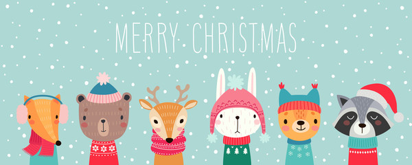 Christmas card with Cute animals. Hand drawn characters. Greeting flyers.