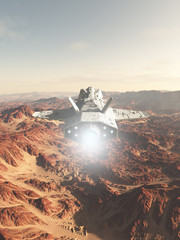 Spaceship Flying Over a Red Desert Planet - science fiction illustration