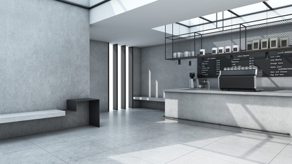Cafe shop  Restaurant design Minimalist counter concrete Top counter white  concrete wall  concrete floors -3D render