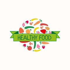 Health food design. Vector logo template for frozen berries and fruits. Can be used for vegetarian cafe, store or shop. EPS10. Circle fruit badge.