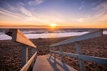 Sunset on one of Malibu's sandy beaches, the Pacific Ocean coastline, Los Angeles county, California Wall mural