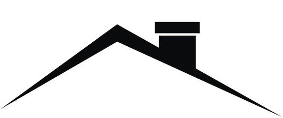 Smokestack on roof, black vector icon