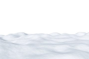 White snowy field isolated on white background
