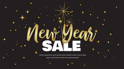 Wall Mural - Happy New Year sale . vector illustration with Fireworks black Background. Vector Holiday Design for Premium Greeting Card, Party Invitation.