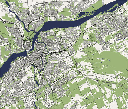 Map of the city of Ottawa, Ontario, Canada