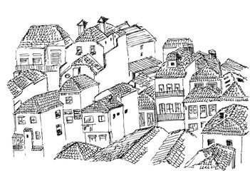 Porto portugal old houses tile roof houses view sketch