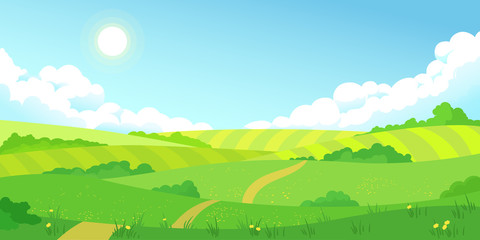 Colorful sunny summer bright fields, hills landscape, green grass, clear blue sky with clouds and sun, flat style vector illustration Fototapete