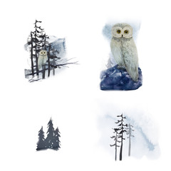 Watercolor winter landscape with owl on tree in forest