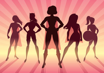 Conceptual illustration depicting team of female superheroes as a concept for sisterhood.