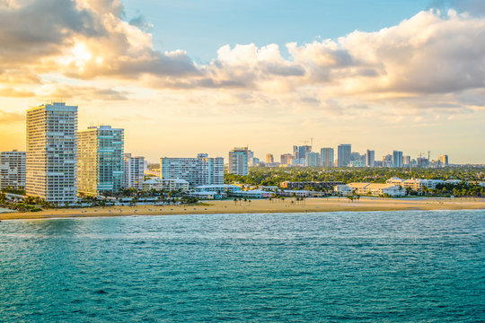 Fort Lauderdale skyline and beach landscape.