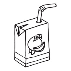 Juice icon. Vector illustration of a pack of juice with a straw. Hand drawn packaging juice with a straw