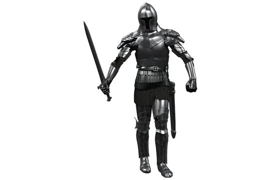 knight in armor with sword in hand on white background 3D render
