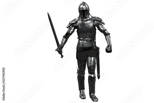 knight in armor with sword in hand on white background 3D