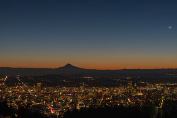 Crescent moon over Portland Oregon