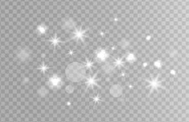 White sparks and silver stars glitter special light effect. Christmas Sparkling magic dust particles. Vector sparkles on transparent background.
