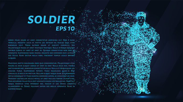 Soldier. A grid of blue stars in the night sky. Glowing dots create the shape of a soldier with a weapon. War, army, machine gun and other concept illustration or background.