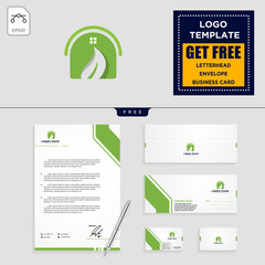 home leaf eco nature logo template and stationery