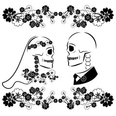skulls wedding with flourishes