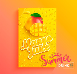 Fresh mango juice banner with drops from condensation, splashing and fruit slice on gradient hot summer background for brand,logo, template,label,emblem,store,packaging,advertising.Vector illustration
