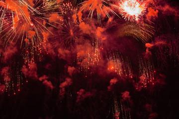 Amazing colorful fireworks in Switzerland