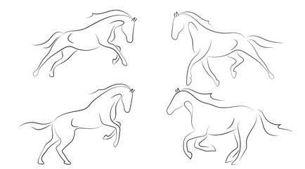 Black line horse on white background. Running horse sketch style. Vector graphic icon animal.