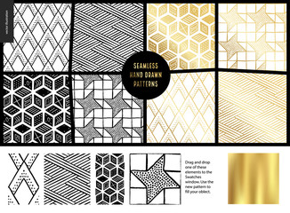 Hand drawn Patterns - a group set of eight abstract seamless patterns - black, gold and white. Geometrical lines and shapes - white