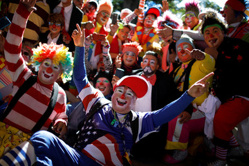 Salvadorean clowns pose for a group picture during Salvadoran Clown Day celebrations in Santa Tecla