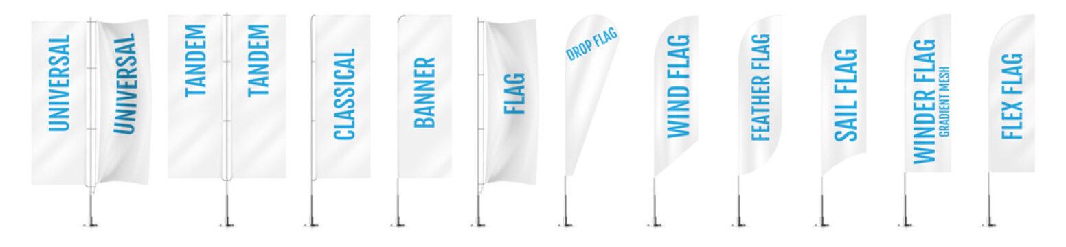 White textile banner flags. Banner flag mockups set. Set of vector advertising mockups.