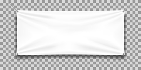 White mock up textile banner, isolated. Fototapete