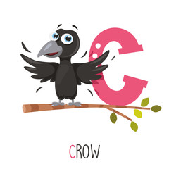 Vector Illustration Of Alphabet Letter C And Crow