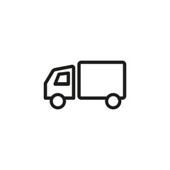 Delivery truck line icon. Cargo, shipping, merchandising. Transportation concept. Vector illustration can be used for topics like distribution, export, import