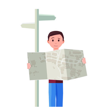 """Flat illustrated man reading a map next to a sign post - perfect for a """"How to Find Us"""" section background element"""